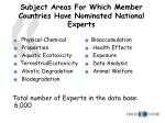 subject areas for which member countries have nominated national experts