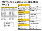 play tennis example estimating p x i c