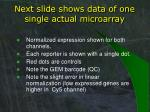 next slide shows data of one single actual microarray