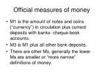 official measures of money