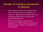 number of functions and percent of variance