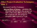 other project evaluation techniques slide i