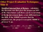 other project evaluation techniques slide ii
