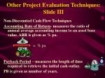 other project evaluation techniques slide iii