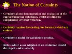 the notion of certainty