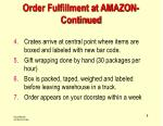 order fulfillment at amazon continued