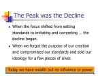the peak was the decline