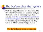 the qur an solves the mystery