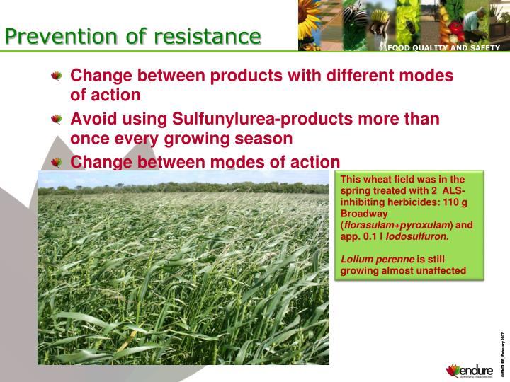 Prevention of resistance