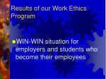 results of our work ethics program