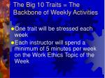 the big 10 traits the backbone of weekly activities