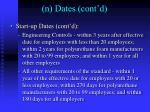 n dates cont d