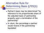 alternative rule for determining basis 705 b