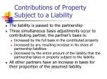 contributions of property subject to a liability