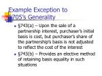 example exception to 705 s generality