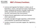 nrc s primary functions