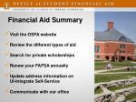 financial aid summary