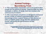 animal testing nuremberg trials
