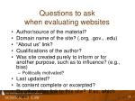 questions to ask when evaluating websites