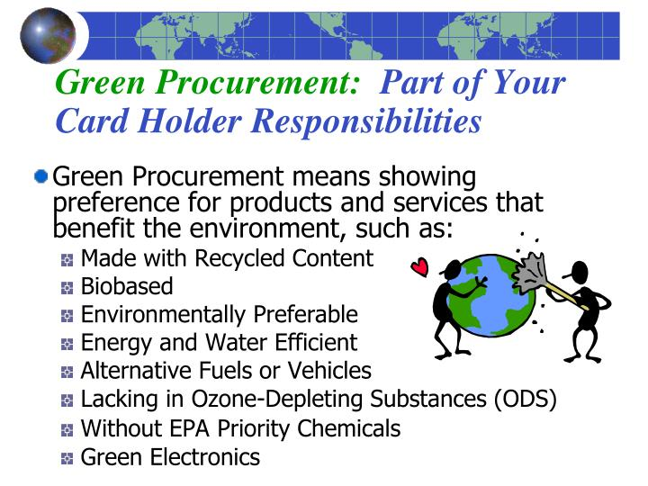green procurement part of your card holder responsibilities n.