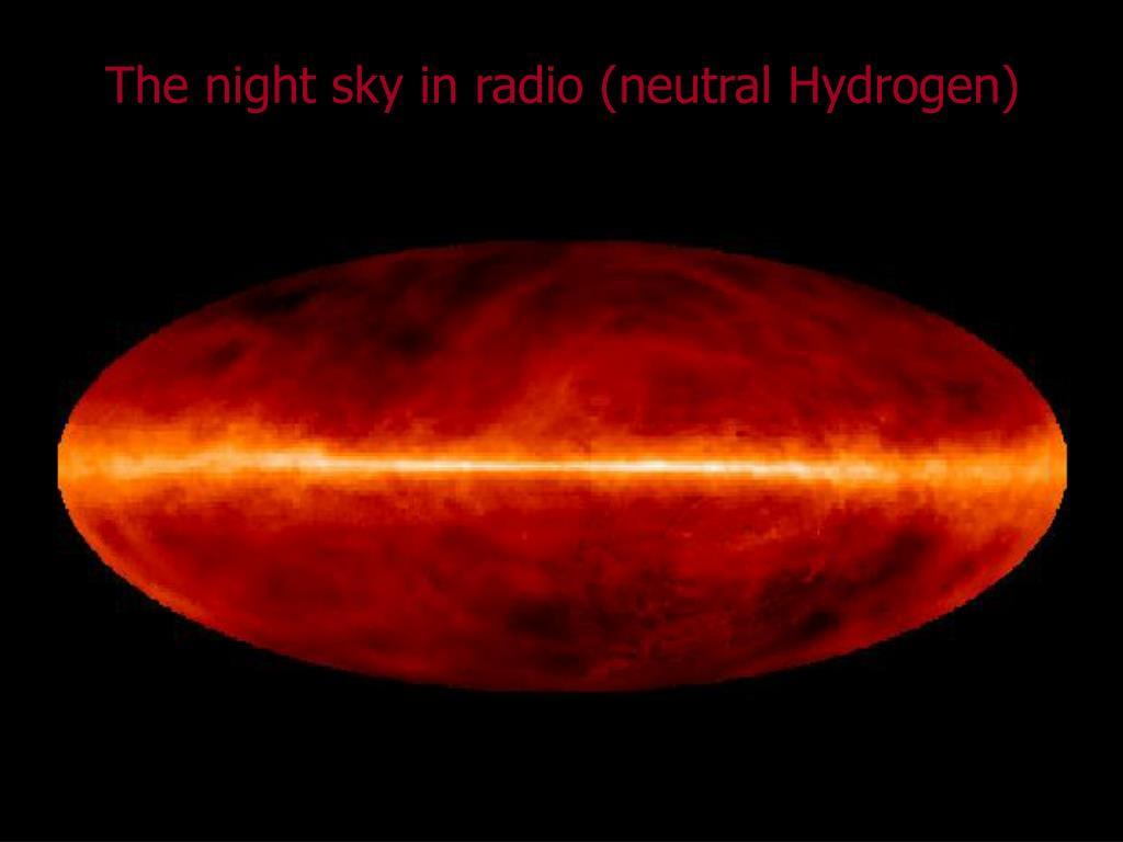 The night sky in radio (neutral Hydrogen)