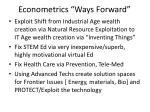 econometrics ways forward