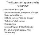 the ecosystem appears to be crashing
