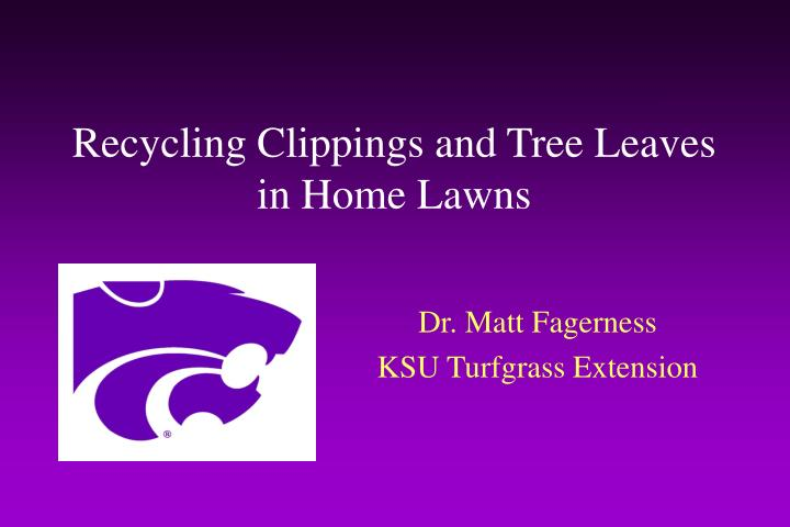 recycling clippings and tree leaves in home lawns n.