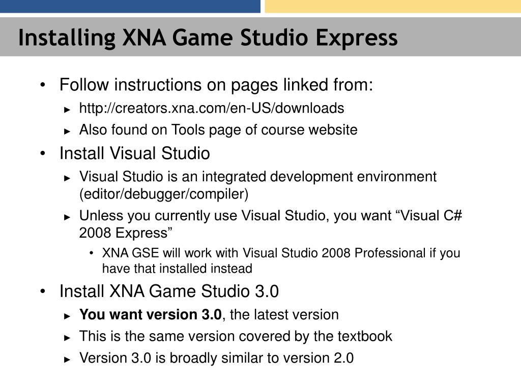 Installing XNA Game Studio Express