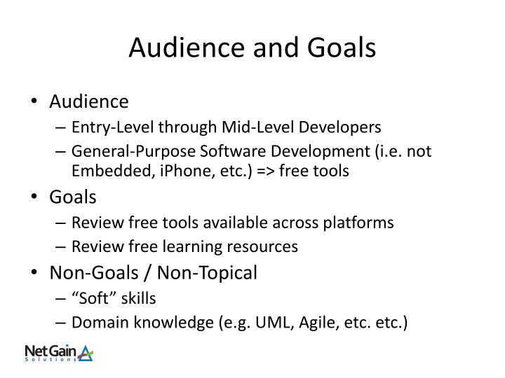 Audience and goals