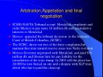 arbitration appelation and final negotiation