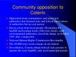 community opposition to coterin