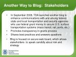 another way to blog stakeholders