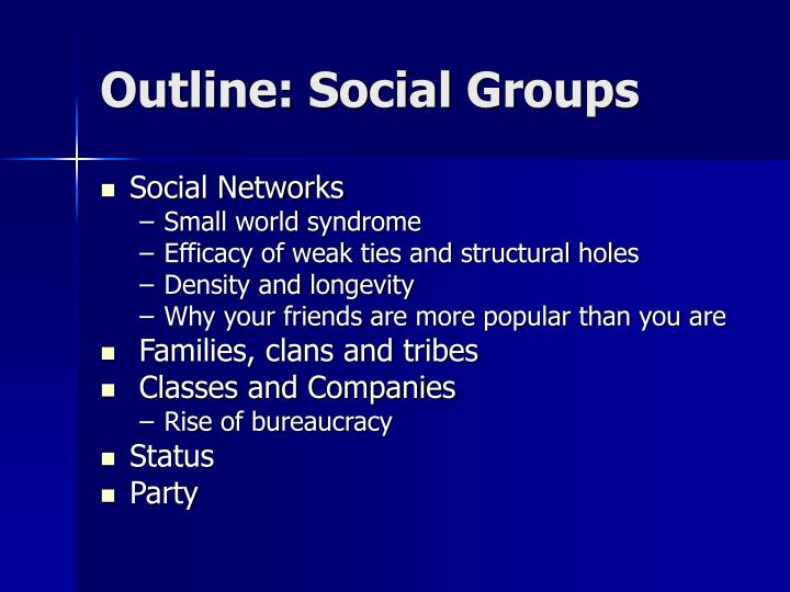 outline social groups n.