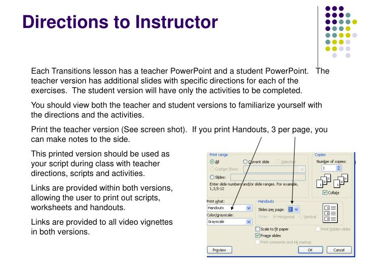 Directions to instructor