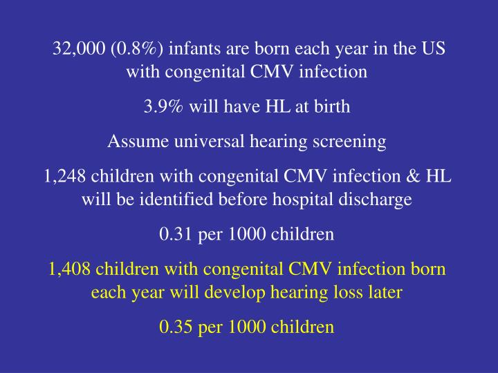 32,000 (0.8%) infants are born each year in the US with congenital CMV infection