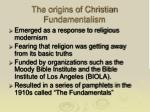 the origins of christian fundamentalism