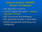 areas to research anzsrc division 13 education