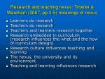research and teaching nexus trowler wareham 2007 pp 3 5 meanings of nexus