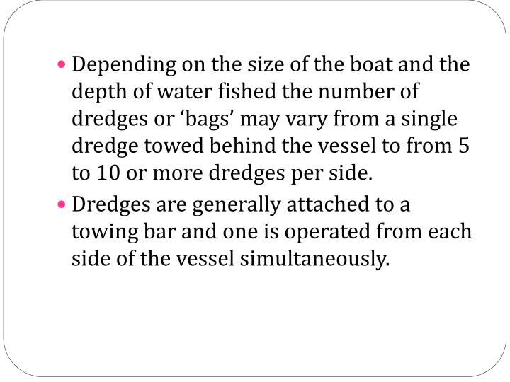 Depending on the size of the boat and the depth of water fished the number of dredges or 'bags' may vary from a single dredge towed behind the vessel to from 5 to 10 or more dredges per side.