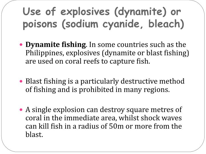 Use of explosives (dynamite) or poisons (sodium cyanide, bleach)