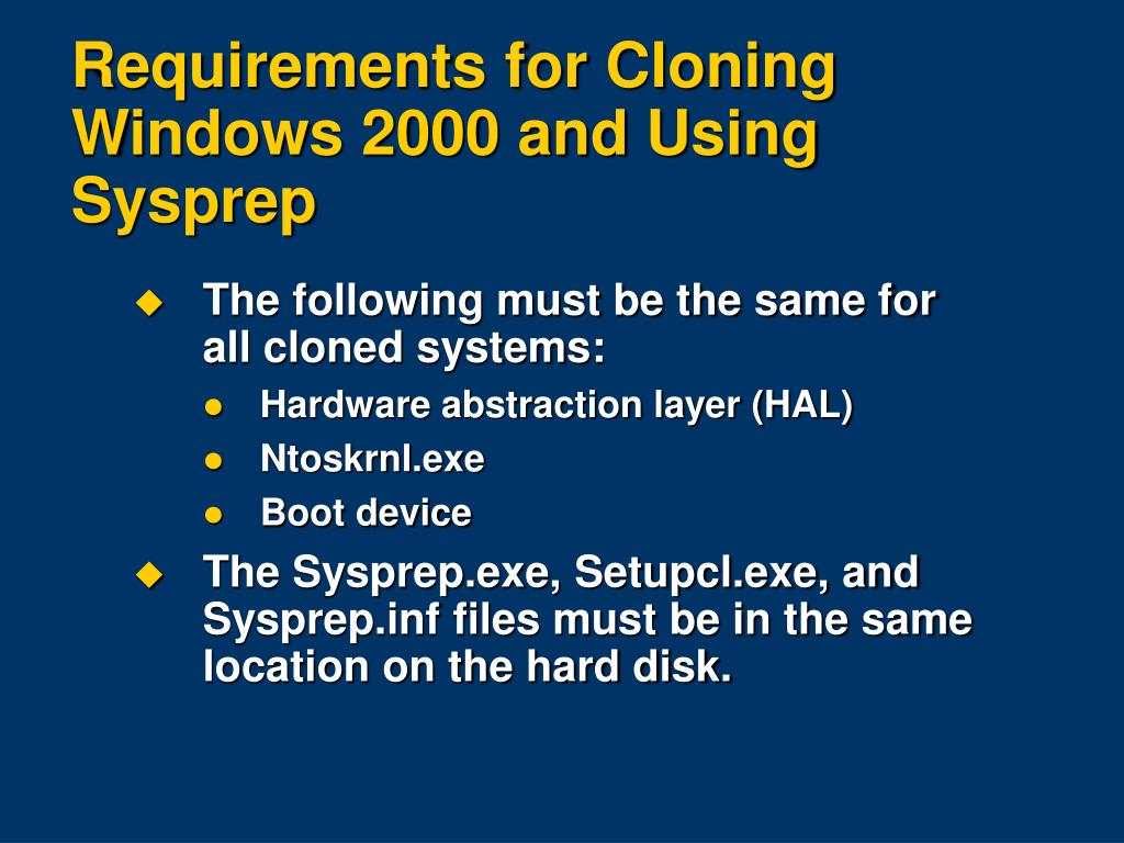 PPT - Cloning Windows 2000 and Using Sysprep PowerPoint