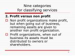 nine categories for classifying services1