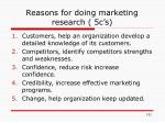 reasons for doing marketing research 5c s