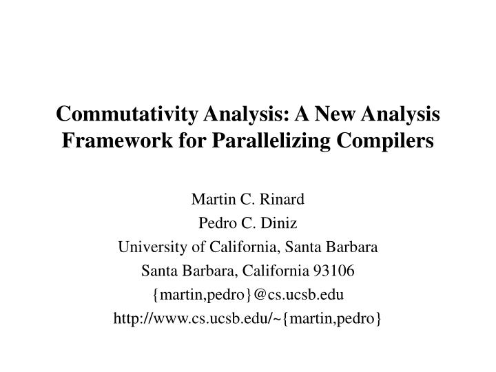 commutativity analysis a new analysis framework for parallelizing compilers n.