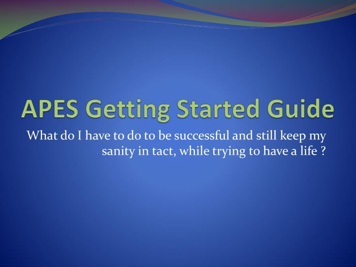 apes getting started guide n.