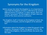 synonyms for the kingdom