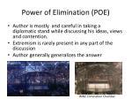 power of elimination poe