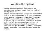 words in the options