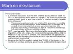 more on moratorium